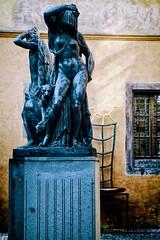 Night and Day (khrawlings) Tags: nightandday statue sculpture metal puma woman hooded naked eagle ungelt courtyard týn praha prague janštursa pedestal blue