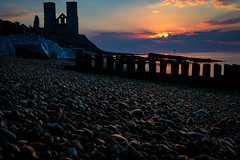 Reculver by sunset (reeceyjo) Tags: reculver bay beach sea sun sunset clouds castle pebbles longexposure nikon beauty