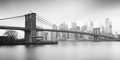 Brooklyn Bridge (Vesa Pihanurmi) Tags: brooklynbridge bridge manhattan downtown skyline eastriver longexposure monochrome blackandwhite skyscrapers architecture