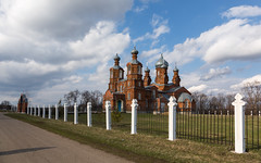 Church Of The Intercession Of The Blessed Virgin Mary (Oleg.A) Tags: cherkasskoye spring penzaregion russia kolyshleyskydistrict nature outdoor rural midday villiage clouds bell orthodox dome architecture cross cathedral church landscape field catedral landscapes noon outdoors penzenskayaoblast ru