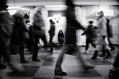 Amid the hustle and bustle (sergeyr10) Tags: people photojournalism portrait monochrome urban city blackandwhite bw street streetphotography metro underground subway documentary human life motion
