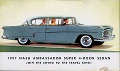 Nash Ambassador For 1957 (SwellMap) Tags: postcard vintage retro pc chrome 50s 60s sixties fifties roadside midcentury populuxe atomicage nostalgia americana advertising coldwar suburbia consumer babyboomer kitsch spaceage design style googie architecture car auto automobile sedan driving ad advert advertisement