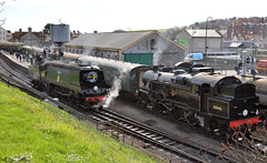 34070 and 80146 at Swanage (davids pix) Tags: 34070 manston bulleid pacific battleofbritain night ferry express passenger train london paris southern preserved steam railway locomotive swanage station 2017 02042017