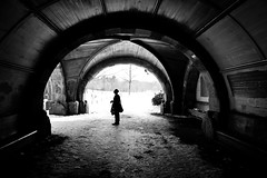 soliloquy (Joseph Dimartino) Tags: blackandwhite bw art architecture person street streetphoto snow winter monochrome ambiguous alone faceless conceptual exit isolated quiet surreal tunnel cathedral bnw