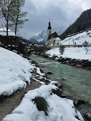 Ramsau - iPhone (Jim Nix / Nomadic Pursuits) Tags: river stream steeple tower church snow winter ramsau germany europe travel snapseed iphone