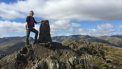 16 of 52 trig points (Ron Layters) Tags: 2017 ronlayters selfportrait 52trigpoints placefell trigpoint summit lakedistrict fells mountain rocky landscape vista clouds stonebuilttrig sunshine helvellyn pillar tp5468 fbs5957 lakedistrictnationalpark patterdale cumbria england unitedkingdom 52weeks 52 phonecamera iphone apple appleiphone6 selftimer tripod 10secondtimer weeksixteen week16 16