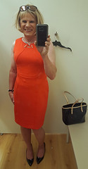 Ivanka Orange (krislagreen) Tags: tg transgendar transvestite cd crossdress crossdresser dress hose highheels blackpatent orange blond femme feminzation femininized