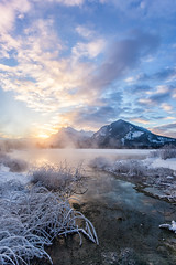 A Sunrise Through the Steam (Kristin Repsher) Tags: alberta banff banffnationalpark canada canadianrockies df hotspring mountrundle mountains nikon rockies rockymountains snow sunrise vermillionlakes winter