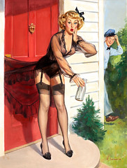 No Milk Today by Robert Oliver Skemp (Tom Simpson) Tags: nomilktoday robertoliverskemp robertskemp illustration pinup pinupart painting lingerie stockings thighhighs milk heels woman sexy girl milkman