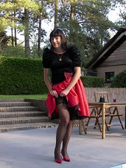 Lace (Paula Satijn) Tags: red stockings girl garden shiny pumps dress legs lace silk skirt tgirl satin