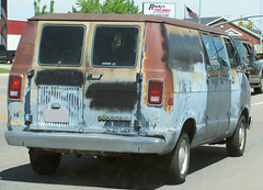 Rusty Dodge Van (Eyellgeteven) Tags: classic vintage rust rusty dent rusted vehicle dodge chrysler mopar van 1980s dents beatup beater madeinusa americanmade dented dodgeram flatblack primergray eyellgeteven