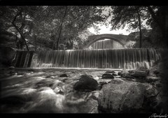 Double waterfalls (Alexandros87) Tags: bridge white black tree stone canon river lens sigma waterfalls alexandros hdr papadopoulos trikala  palaiokarya