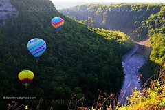 Letchworth - Balloon Rally - Balloons over Gorge (DTA_3913) (masinka) Tags: show statepark blue red summer white nature festival river landscape buffalo weekend hotair rally balloon canyon rochester letchworth gorge memorialday genesee balloonfestival latespring castile balloonrally 12thannual