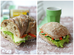 hundred-ten: sandwiches (a_la_ventura) Tags: red food brown green vegetables cheese breakfast salad diptych sandwich veggies belarus minsk brea