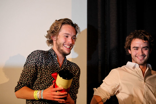 Stars of uwantme2killhim? Toby Regbo and Jamie Blackley receiving The Award for Best Performance in a British Feature Film