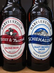 Harviestoun Double Bill (RoystonVasey) Tags: beer canon real scotland bottle ale ixus 95 twisted bitter schiehallion harviestoun