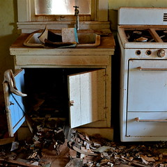 Cuervo, New Mexico (Lou Morgan) Tags: new usa abandoned kitchen mystery mexico shoe town sink ghost roadtrip eerie cooker desolate