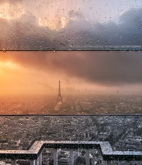 Paris 16/9 (A-lain W-allior A-rtworks) Tags: france tower water rain skyline nikon tour pluie eiffel montparnasse d800 2013