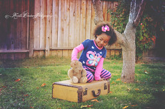 (Krista Cordova Photography) Tags: playing tree fall girl kids children fun sister teddybear suitcase greengrass cutekids hispanicchildren africanamericanchildren