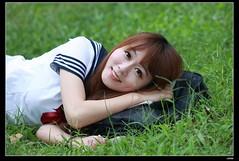 nEO_IMG__MG_3160 (c0466art) Tags: street school light portrait cute girl beautiful field grass canon pose bag walking book eyes uniform natural action sweet outdoor east lie 5d taipei lovely pure hight dowm  c0466art