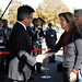 Caroline Kennedy, U.S. Ambassador to Japan, shakes hands with Japan Parliamentary Senior Vice Minister of Defense