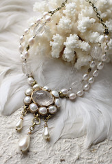 N-3308 (Kotomi_) Tags: vintage necklace costume handmade style jewelry medieval jewellery collection polymerclay historical period byzantine springsummer naturalstone semiprecious 2014  kotomi    kotomiyamamura kotomijewellery