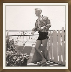 TIME PASSES TOO QUICKLY. HERE I AM IN 1960, JUST BEGINNING MY JOURNEY. (roberthuffstutter) Tags: portrait artist getaway drinking posing ensenada writer plazahotel usn youngman jeanshorts youngmen pipesmoker rlh civies 1960sgeneration