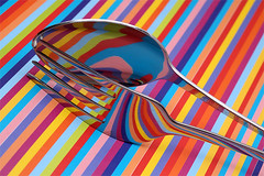 Day #2216 (cazphoto.co.uk) Tags: stilllife reflections stripes fork spoon cutlery tabletop project365 240114 yn560speedlite canoneos5dmkiii canon100mmeff28lisusm beyond2192