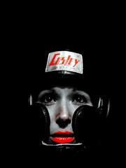 DSCN8732 2 (Elsa Dubreuil) Tags: portrait paris monochrome rouge nikon noir autoportrait femme lumiere bouche et blanc clair couleur boxe selective obscur casque