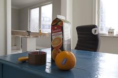 Orange on blue (Beathe) Tags: oslo atchristels dælenenga upstairs img1841 orange blue