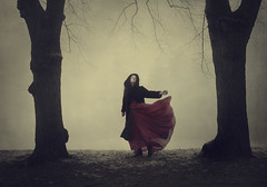 The Calm Before The Storm (Maren Klemp) Tags: fineartphotography fineartphotographer color darkart reddress woman portrait selfportrait outdoors nature trees fog ethereal running vintage symbolic conceptual movement dreamy painterly