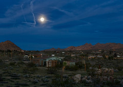 Evening in Joshua Tree, California (docoverachiever) Tags: california houses landscape desert moonrise joshuatree mountains scenery clouds