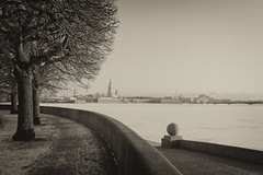 And the Fortress in the distance - И крѣпость вдалекѣ (Valery Parshin) Tags: russia saintpetersburg canoneos600d canonefs24mmf28stm valeryparshin vasilyevskyisland sepia blackandwhite trees river