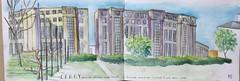 Cergy immeubles de Ricardo Bofill 1985 place des colonnes (marieclaireheulot) Tags: aquarelle 1985 ricardobofill architecture cergy