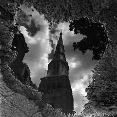 Reflet (flallier) Tags: reflet reflect réflexion reflection puddle flaque eau église canada montréal trix 400tx d76 film analog blackandwhite noiretblanc bw nb monochrome grain