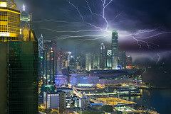 Hong Kong Skyline with Lightning (Bernhard Sitzwohl) Tags: hk hongkongisland travel sar cityscape urban china lightning thunderstorm city vantagepoint hong kong 2015