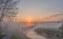Foggy at Sunrise (Martine Lambrechts) Tags: foggy sunrise morning landscape waterway tree nature