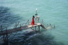 Sai Wan Swimming Shed (Greg Rohan) Tags: blue hongkongisland saltwater sea saiwanswimmingshed swimmingshed reddress hongkong water photography 2017 d7200