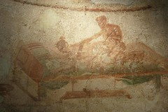 0012 Lupanar,Fresco above cubicle, Vicolo del Lupanare, Pompeii (4) (tobeytravels) Tags: pompeii lupanar brothel fresco