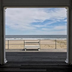 Ocean view (smullengada) Tags: bench chair frame vista smullengada avonbythesea nj oceanview square squareformat iphoneography