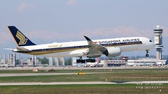 """9V-SMF Singapore Airlines Airbus A350-941 """"10,000th Airbus Aircraft"""" special colours (Nick Air Aviation Photography) Tags: img2157 9vsmfsingaporeairlinesairbusa35094110000thairbusaircraftspecialcolours landing travel airport aviationphotography nickairaviationphotography milanomxp milanomalpensaairport 1010 canoneos76od"""