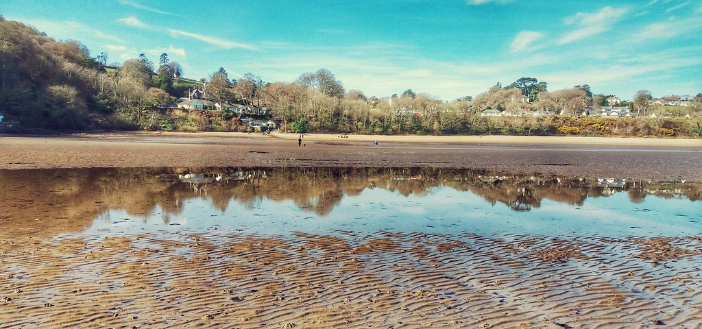 Llanbedrog beach reflection.