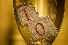 Happy 10 Years (bluepoppynz) Tags: 10 macromonday macromondays bubbles glass gold macro wine