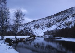 Blue Hour (ShinyPhotoScotland) Tags: innocence moody landscape art inviting nature gloomy emotion colour filter elegance glenlyon peace enfuse manipulated rawtherapee water raw contrasts composite shapeandform olympus1240mmf28 leadinglines hdr twilight lines perthshire skyearth flowing seasonal scotland weather winter digitalgradnd rugged balance river digikam nearfar pure pastelshades tranquil timelessness dynamic snow olympuspenf riverlyon affection rawconversion timefulness softlight meandering equipment simple vista cold digitallowpass light zen places bluehour awe beautiful lens toned composition photography camera darktable