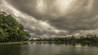 dark clouds over the lake