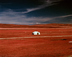 Ger (tsiklonaut) Tags: pentax 67 6x7 67ii film analog analogue analogica analoog 120 roll medium format keskformaat kodak aerochrome chrome eir color infrared infrapuna infra ir colour värviline red mongolia mongoolia mongolian landscape maastik yurt ger hut sky fuji hunt 6x e6 slide dia positive trail road piste mongol travel discover experience flat drum scan drumscan scanner pmt photomultipliertube door chimney round