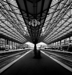 Departure gates (Jean-Luc Peluchon) Tags: fz1000 lumix panasonic bw noiretblanc graphic perspective dramatic railway rail station train symmetry monochrome travel trip voyage