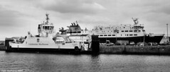 Scotland Greenock the ship repair dock car ferries Loch Invar and Hebrides 13 March 2017 by Anne MacKay (Anne MacKay images of interest & wonder) Tags: scotland greenock ship repair dock caledonian macbrayne car ferries loch invar hebrides ships monochrome blackandwhite xs1 13 march 2017 picture by anne mackay