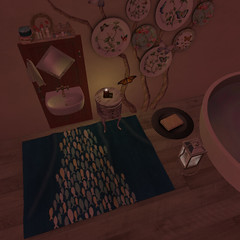 washing by candlelight_001 (gingercookee) Tags: circa silveryk zerkalo concept storaxtree plaaka percentfurnture secondlife decorating bathroom fish butterfly candlelight