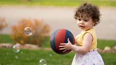 _DSC5906 Spheres (Charles Bonham) Tags: child toddler curlyhair curls happy girl sonya7r sonyfe2890mmmacrogoss charlesbonhamphotography spheres sphere basketball bubbles soapbubbles outdoor grass bush